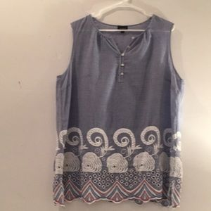 TALBOTS top Xl embroidered flowers & beads
